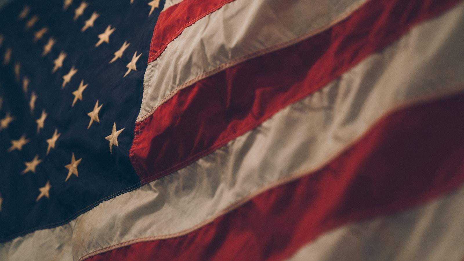closeup photo of USA flag